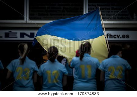 VALENCIA, SPAIN - FEBRUARY 11: Ukrainian players during Hockey World League Round 2 semifinal match between Ukraine and Poland at Betero Stadium on February 11, 2017 in Valencia, Spain