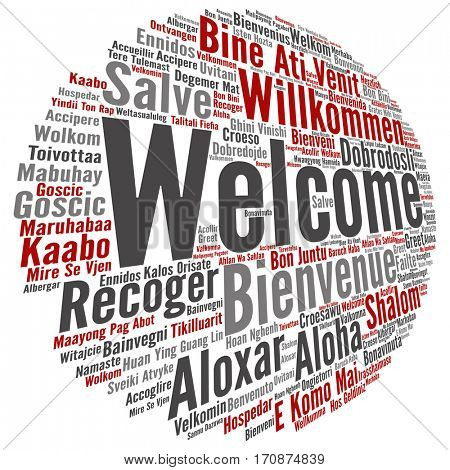 Concept or conceptual abstract welcome or greeting international word cloud in different languages or multilingual isolated