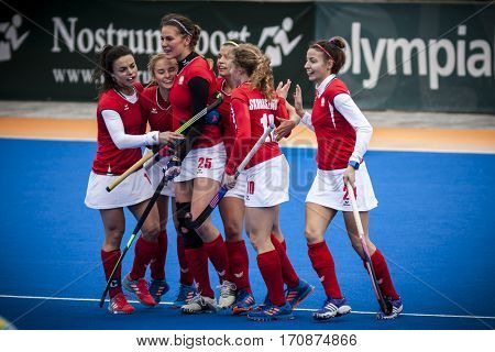 VALENCIA, SPAIN - FEBRUARY 11: Polish players celebrate a goal  during Hockey World League Round 2 semifinal match between Ukraine and Poland at Betero Stadium on February 11, 2017 in Valencia, Spain