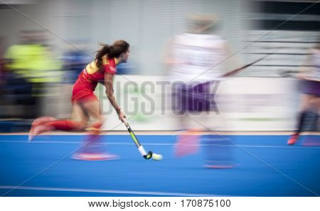 VALENCIA, SPAIN - FEBRUARY 11: Lucia Jimenez during Hockey World League Round 2 semifinal match between Spain and Scotland at Betero Stadium on February 11, 2017 in Valencia, Spain