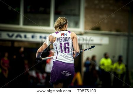VALENCIA, SPAIN - FEBRUARY 11: Rebecca Merchant during Hockey World League Round 2 semifinal match between Spain and Scotland at Betero Stadium on February 11, 2017 in Valencia, Spain