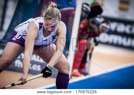 VALENCIA, SPAIN - FEBRUARY 11: Sarah Robertson during Hockey World League Round 2 semifinal match between Spain and Scotland at Betero Stadium on February 11, 2017 in Valencia, Spain