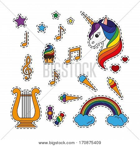 Fashion patch badges with a unicorn, harp, musical notes, sweets and other elements. Set of stickers, pins, patches in cartoon 80s-90s comic style. Vector illustration isolated on white background.