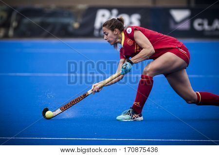 VALENCIA, SPAIN - FEBRUARY 11: Maria Lopez during Hockey World League Round 2 semifinal match between Spain and Scotland at Betero Stadium on February 11, 2017 in Valencia, Spain