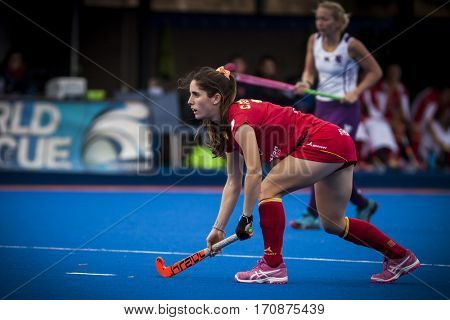 VALENCIA, SPAIN - FEBRUARY 11: Carlota Petchame during Hockey World League Round 2 semifinal match between Spain and Scotland at Betero Stadium on February 11, 2017 in Valencia, Spain