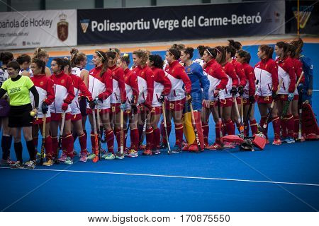 VALENCIA, SPAIN - FEBRUARY 11: All players during Hockey World League Round 2 semifinal match between Spain and Scotland at Betero Stadium on February 11, 2017 in Valencia, Spain