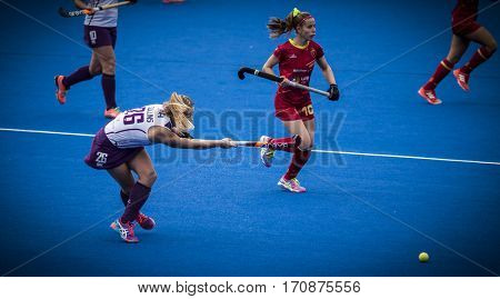 VALENCIA, SPAIN - FEBRUARY 11: Robyn Collins during Hockey World League Round 2 semifinal match between Spain and Scotland at Betero Stadium on February 11, 2017 in Valencia, Spain