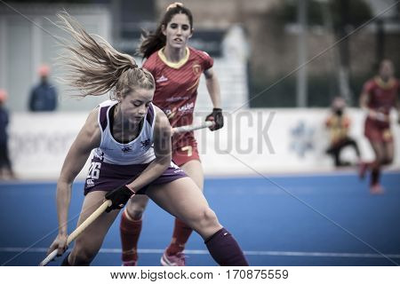 VALENCIA, SPAIN - FEBRUARY 11: 26 Robyn Collins during Hockey World League Round 2 semifinal match between Spain and Scotland at Betero Stadium on February 11, 2017 in Valencia, Spain