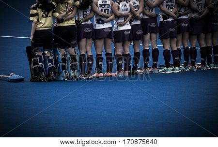 VALENCIA, SPAIN - FEBRUARY 11: Scotish players during Hockey World League Round 2 semifinal match between Spain and Scotland at Betero Stadium on February 11, 2017 in Valencia, Spain