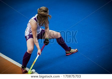 VALENCIA, SPAIN - FEBRUARY 11: Charlotte Watson during Hockey World League Round 2 semifinal match between Spain and Scotland at Betero Stadium on February 11, 2017 in Valencia, Spain