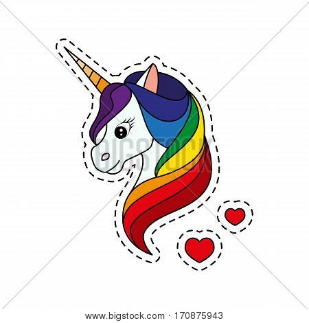 Unicorn with rainbow mane. Fashion patch badges. Sticker, pin, patch in cartoon 80s-90s comic style. Vector illustration isolated on white background.