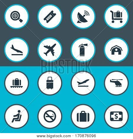 Set Of 16 Simple Plane Icons. Can Be Found Such Elements As Luggage Carousel, Garage, Protection Tool And Other.