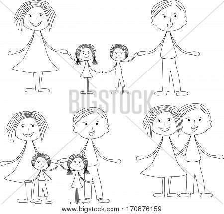 Family ector illustration in a flat style