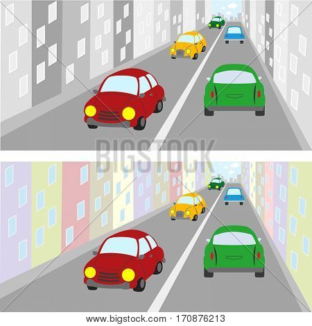 Colorful Cars Driving On The Street Of The City.