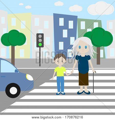 A Child Shepherds An Elder Man Across The Road
