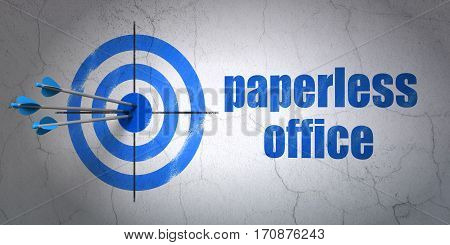 Success finance concept: arrows hitting the center of target, Blue Paperless Office on wall background, 3D rendering