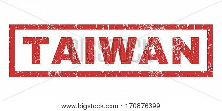 Taiwan text rubber seal stamp watermark. Tag inside rectangular banner with grunge design and scratched texture. Horizontal vector red ink sticker on a white background.