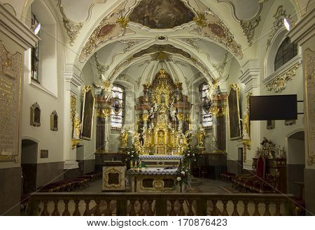 Mount St. Anna Poland February 4 2017: Inside the Basilica of St. Anna in the international sanctuary of St. Anna in Poland