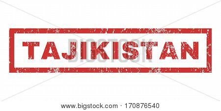 Tajikistan text rubber seal stamp watermark. Tag inside rectangular shape with grunge design and dust texture. Horizontal vector red ink sticker on a white background.