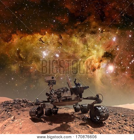 Curiosity rover exploring the surface of Mars. Elements of this image furnished by NASA.