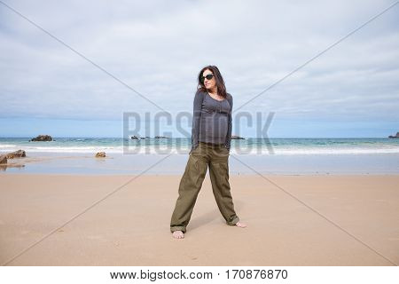Grey Jersey Pregnant At Beach