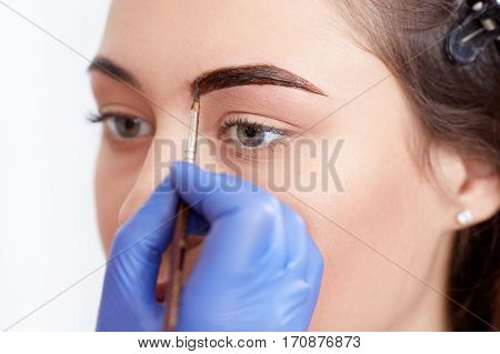 Crop of cosmetologist in blue gloves applying special permanent make up of eyebrows for brunette woman. Professional making permanent eyebrows using paint for client in a beauty salon.
