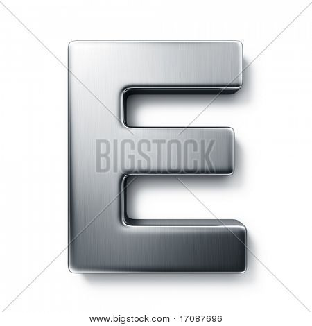 3d rendering of the letter E in brushed metal on a white isolated background.
