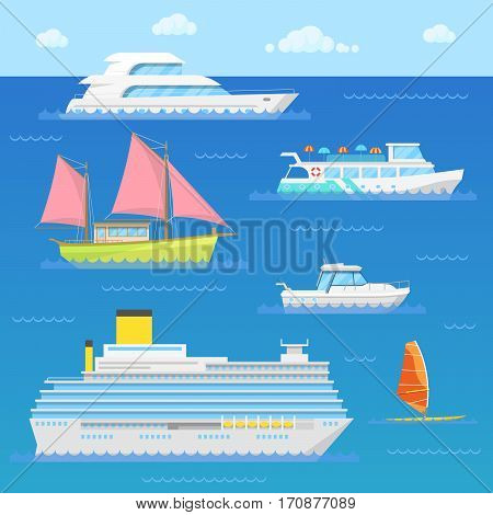 Water Transport with Ship, Liner, Boat and Windsurfer. Vector illustration