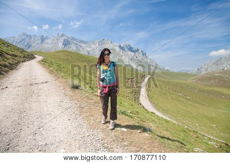 Hiker Woman Posing In Cantabrian Mountain
