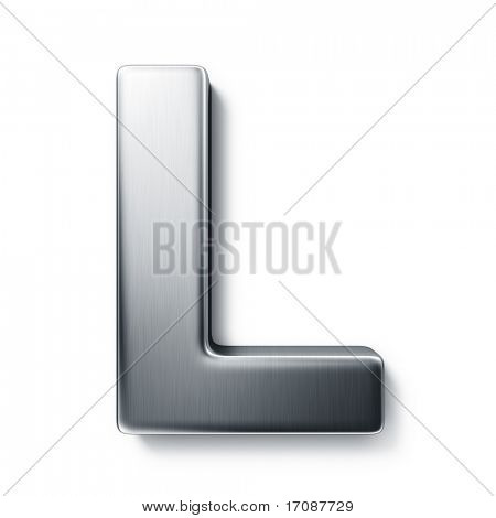 3d rendering of the letter L in brushed metal on a white isolated background.