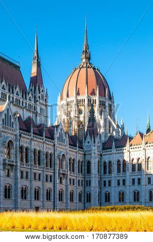 Daytime view of historical building of Hungarian Parliament, aka Orszaghaz, with typical central dome in Budapest, Hungary, Europe. It is notable landmark and seat of the National Assembly of Hungary. Back side view from Kossuth Lajos Square