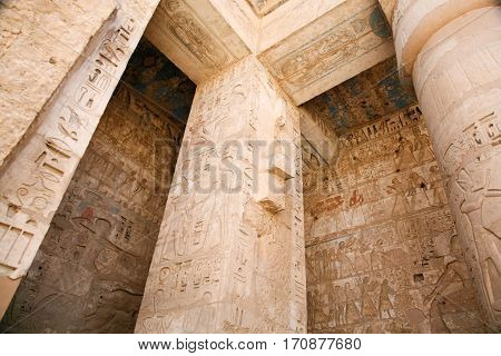 Reliefs In Medinet Habu Temple