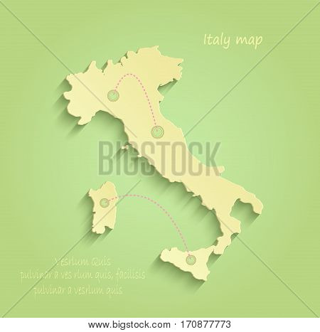 Italy map green yellow vector template italy