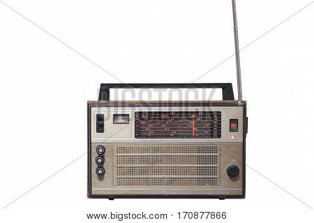 Retro old vintage radio front isolated on white background.