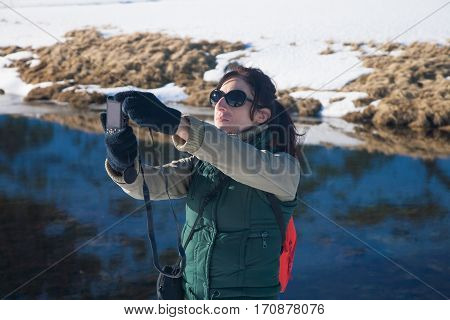 Trekking Woman Taking Selfie