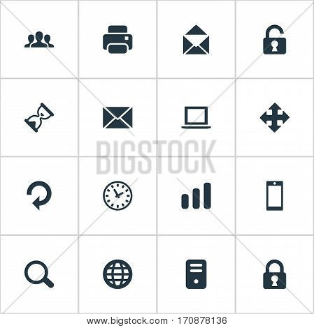 Set Of 16 Simple Practice Icons. Can Be Found Such Elements As Smartphone, Arrows, Statistics And Other.