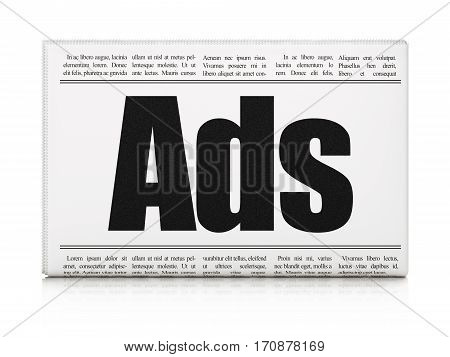 Advertising concept: newspaper headline Ads on White background, 3D rendering