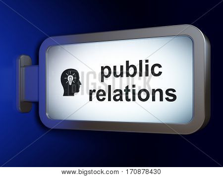 Advertising concept: Public Relations and Head With Light Bulb on advertising billboard background, 3D rendering