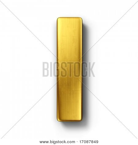 3d rendering of the letter I in gold metal on a white isolated background.