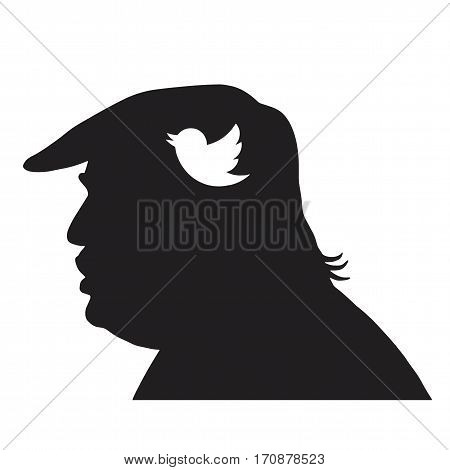 Donald Trump Silhouette and Social Media Icon. Vector Illustration. February 13, 2017