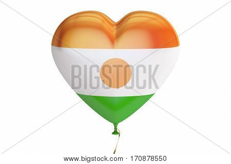 balloon with Niger flag in the shape of heart 3D rendering isolated on white background