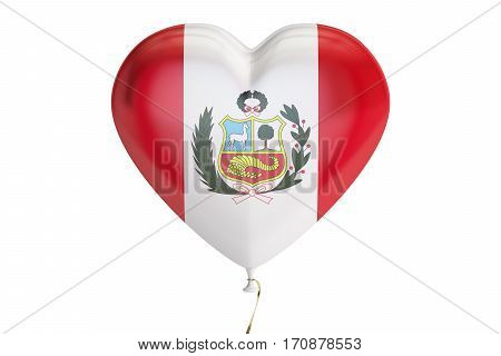 balloon with Peru flag in the shape of heart 3D rendering isolated on white background