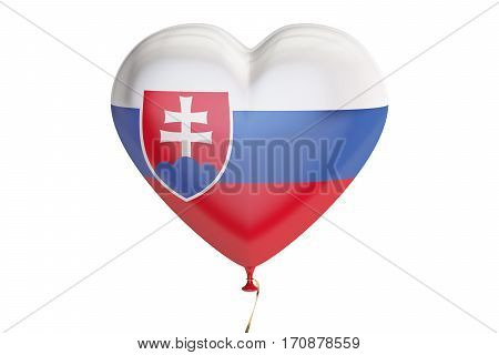 balloon with Slovakia flag in the shape of heart 3D rendering isolated on white background