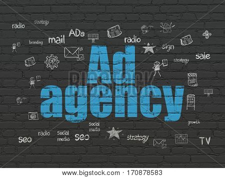 Marketing concept: Painted blue text Ad Agency on Black Brick wall background with  Hand Drawn Marketing Icons
