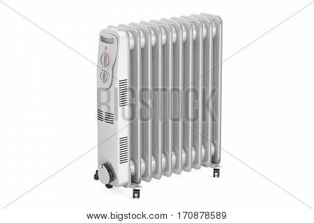 Electric oil heater 3D rendering isolated on white background