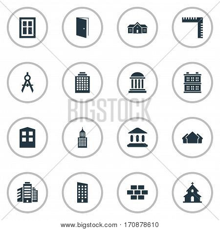 Set Of 16 Simple Architecture Icons. Can Be Found Such Elements As Gate, Floor, Superstructure And Other.