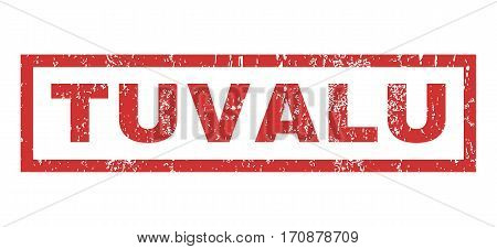 Tuvalu text rubber seal stamp watermark. Tag inside rectangular banner with grunge design and unclean texture. Horizontal vector red ink sticker on a white background.