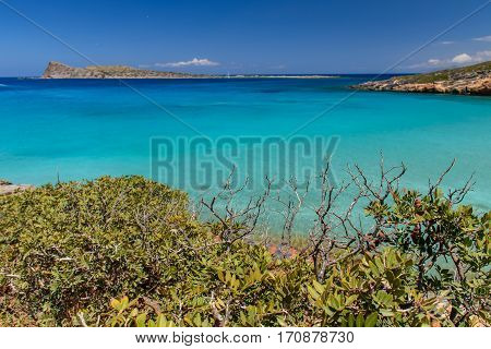 The picturesque cove with clear blue water