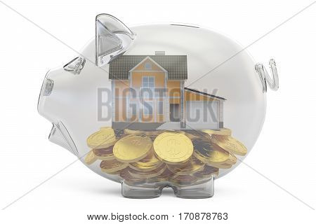savings money for home concept 3D rendering isolated on white background