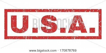 U.S.A. text rubber seal stamp watermark. Caption inside rectangular banner with grunge design and dirty texture. Horizontal vector red ink sticker on a white background.